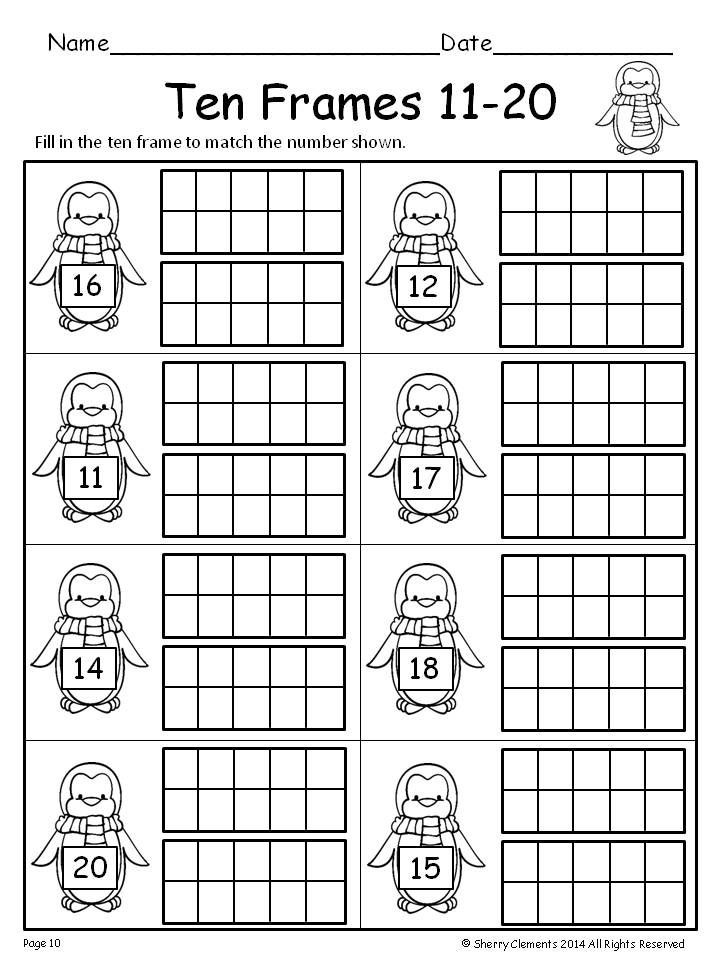 Ten Frame Worksheets Kindergarten Ten Frames 11 20 Freebie
