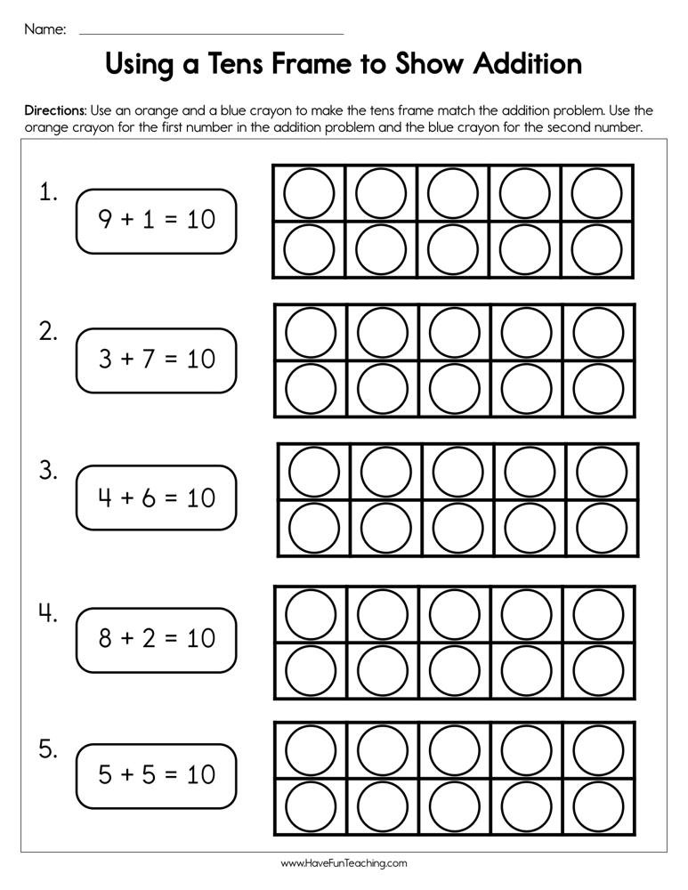 Ten Frame Worksheets Kindergarten Using A Tens Frame to Show Addition Worksheet
