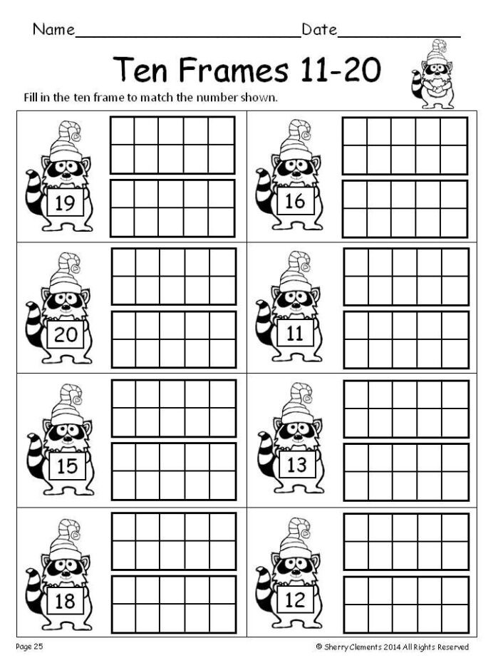 Ten Frame Worksheets Kindergarten Winter Ten Frames Kindergarten Math Teens First 1st Grade