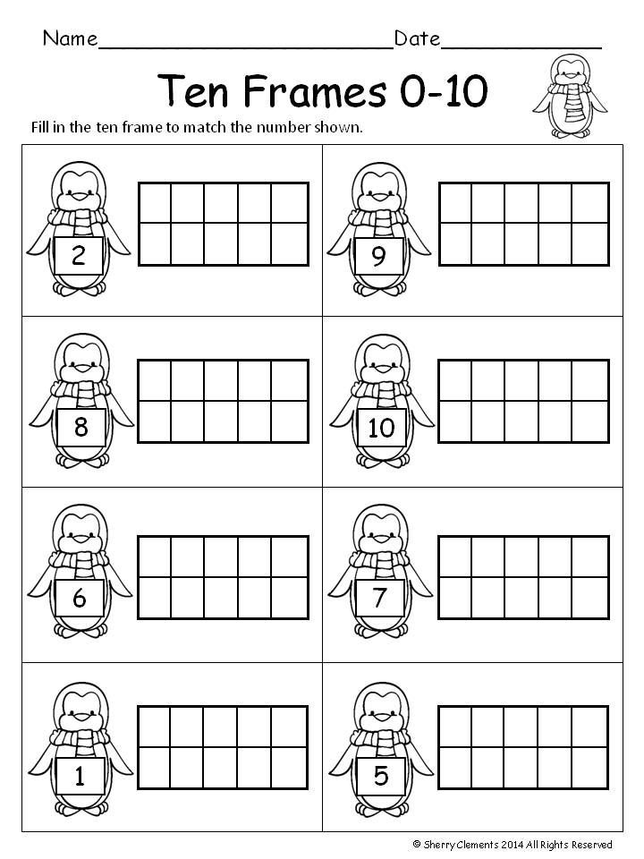 Ten Frame Worksheets Kindergarten Winter Ten Frames