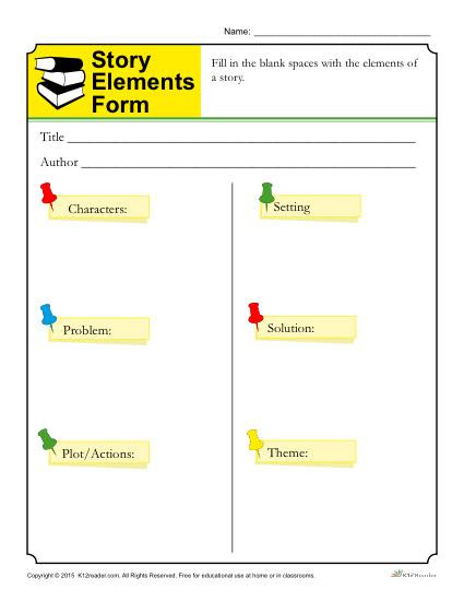 Theme Worksheets 5th Grade Story Elements form Template for Students