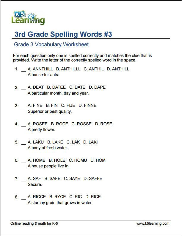 Third Grade Grammar Worksheet 3rd Grade Spelling Words