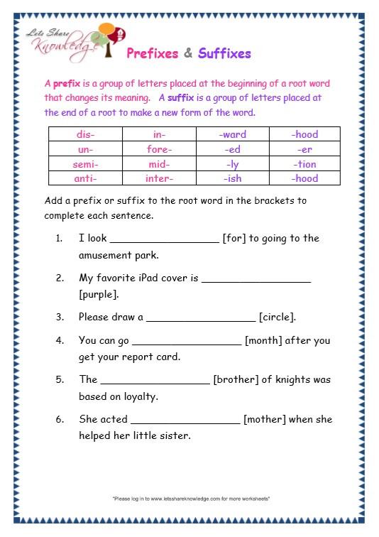 Third Grade Grammar Worksheet Grade 3 Grammar topic 21 Prefix and Suffix Worksheets