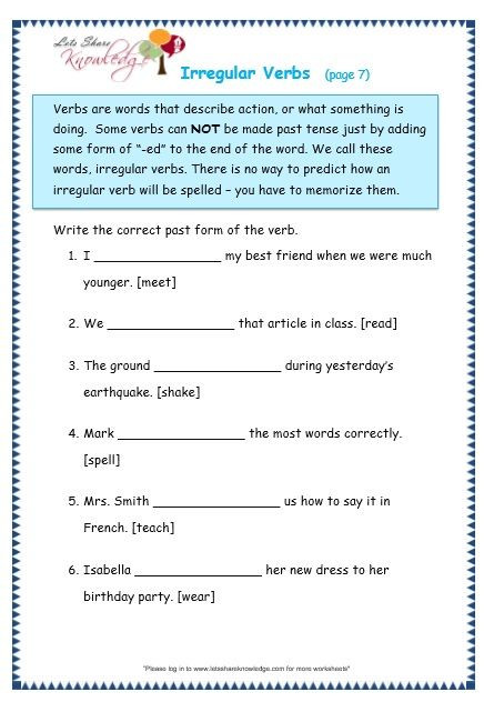 Third Grade Grammar Worksheet Grade 3 Grammar topic 39 Irregular Verbs Worksheets