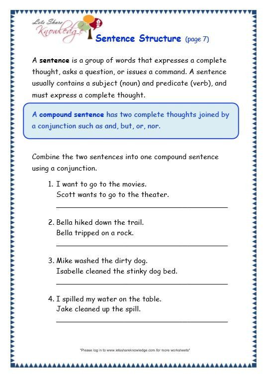 Topic Sentence Worksheets 2nd Grade Grade 3 Grammar topic 36 Sentence Structure Worksheets