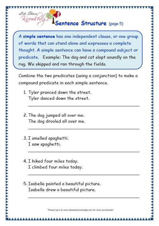Topic Sentence Worksheets 4th Grade Grade Grammar topic Sentence Structure Worksheets with