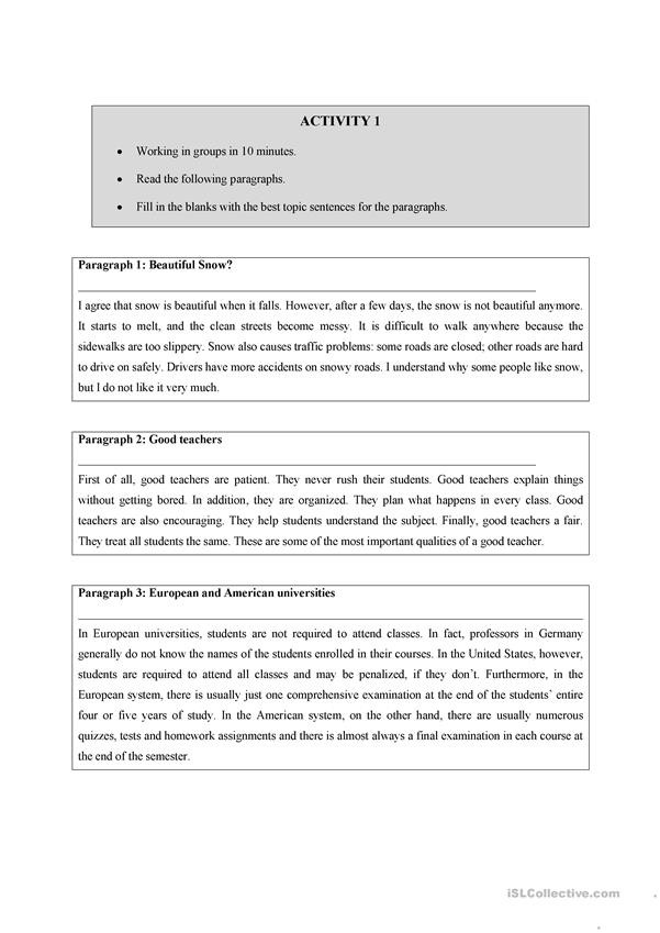 Topic Sentence Worksheets 4th Grade Writing A topic Sentence English Esl Worksheets for