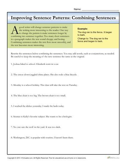 Topic Sentences Worksheets 3rd Grade Sentence Patterns Bining Sentences