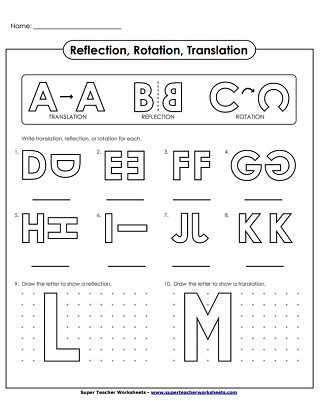 Translation Math Worksheets Reflection Translation and Rotation Worksheets