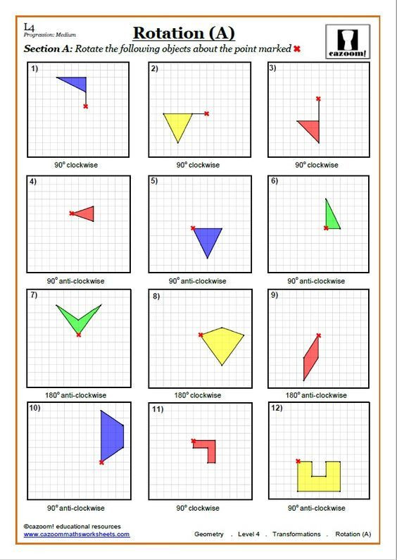Translation Math Worksheets Transformations Worksheets with Answers