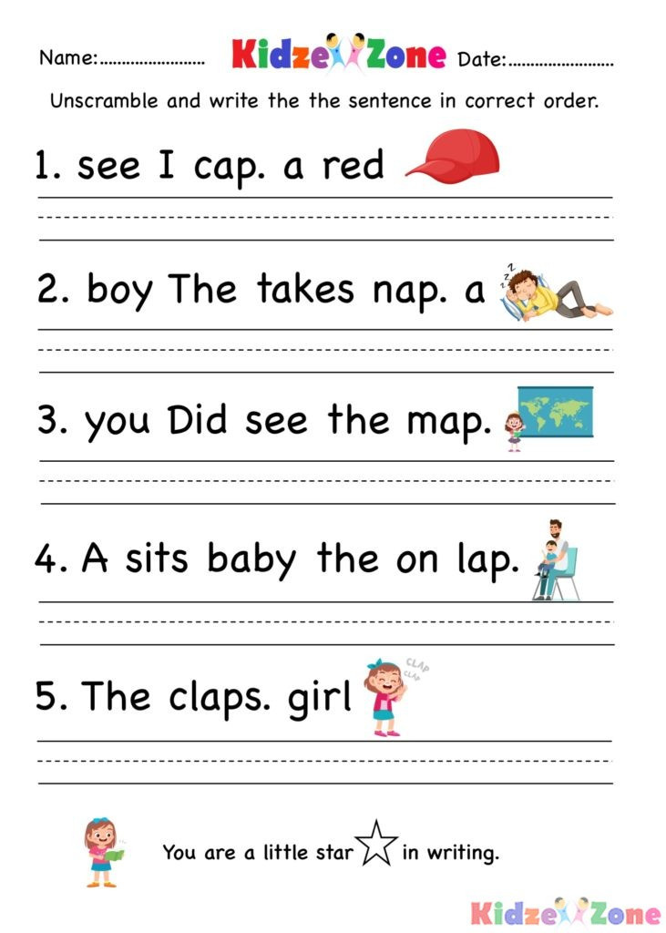 Unscramble Sentences Worksheets 1st Grade Muads Work Lessons Tes Teach