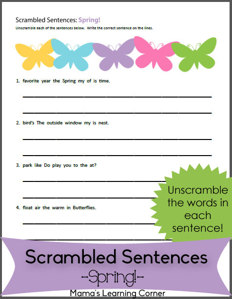 Unscramble Sentences Worksheets 1st Grade Scrambled Sentences Worksheet for Spring Mamas Learning Corner