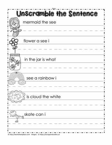 Unscramble Sentences Worksheets 1st Grade Unscramble the Sentence Worksheets