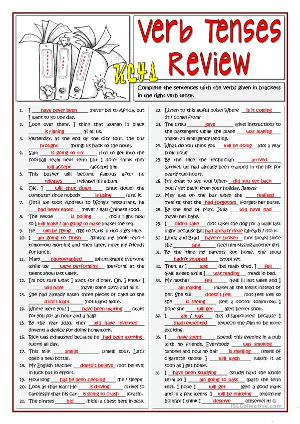 Verb Tense Worksheets 3rd Grade B1 Verb Tenses Review 1 2 English Esl Worksheets for