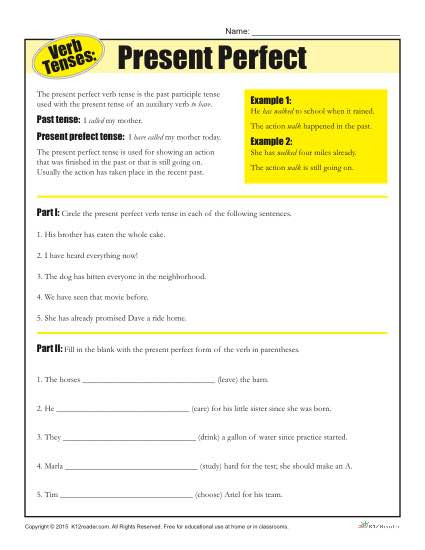 Verb Tense Worksheets 3rd Grade Verb Tense Worksheets