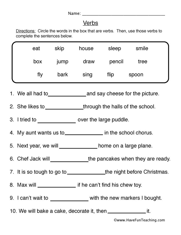 Verbs Worksheet First Grade Fill In the Blanks Verb Worksheet