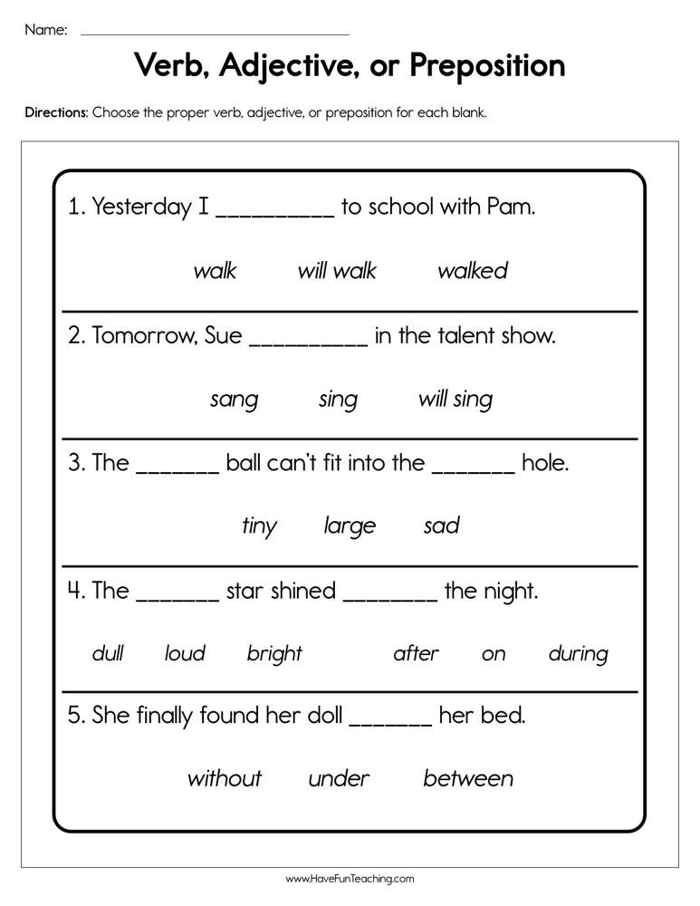 Verbs Worksheet First Grade Verb Adjective or Preposition Worksheet
