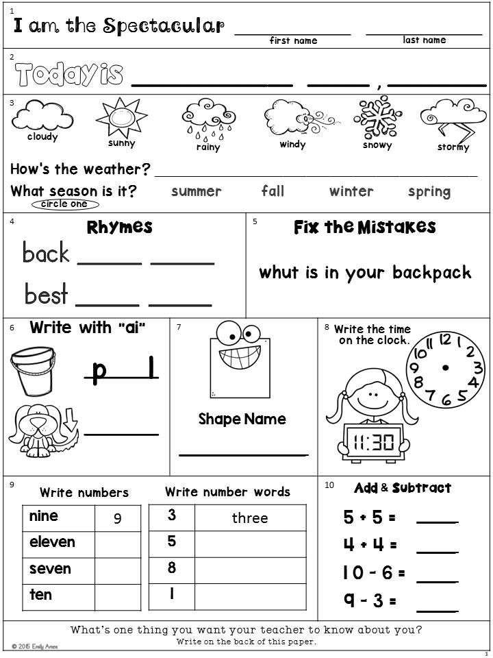 Weather Worksheets for 2nd Grade Morning Work Freebie Second Grade August Packet