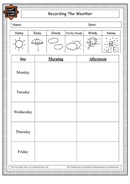 Weather Worksheets for 2nd Grade Recording the Weather Worksheet for 1st 4th Grade