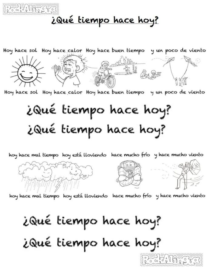 Weather Worksheets for 2nd Grade Spanish Weather song for Kids Easy Level Rockalingua