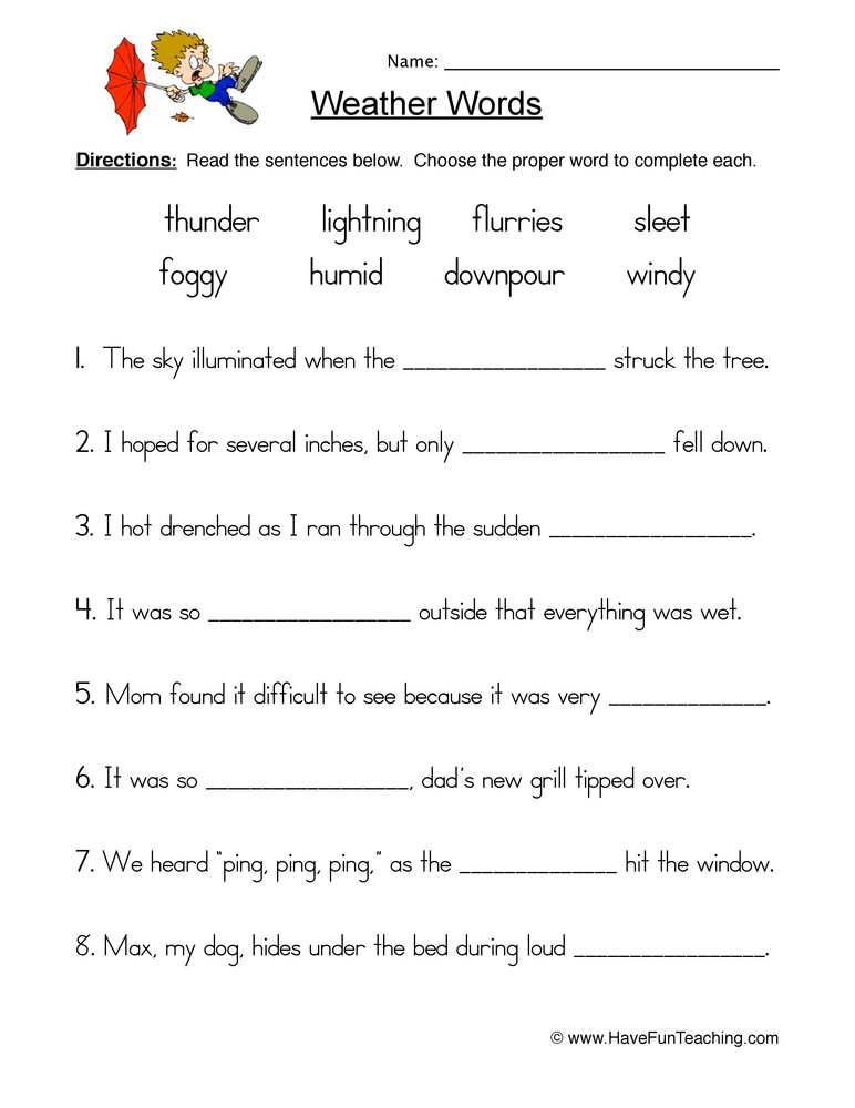 Weather Worksheets for 2nd Grade Weather Fill In the Blank Worksheet