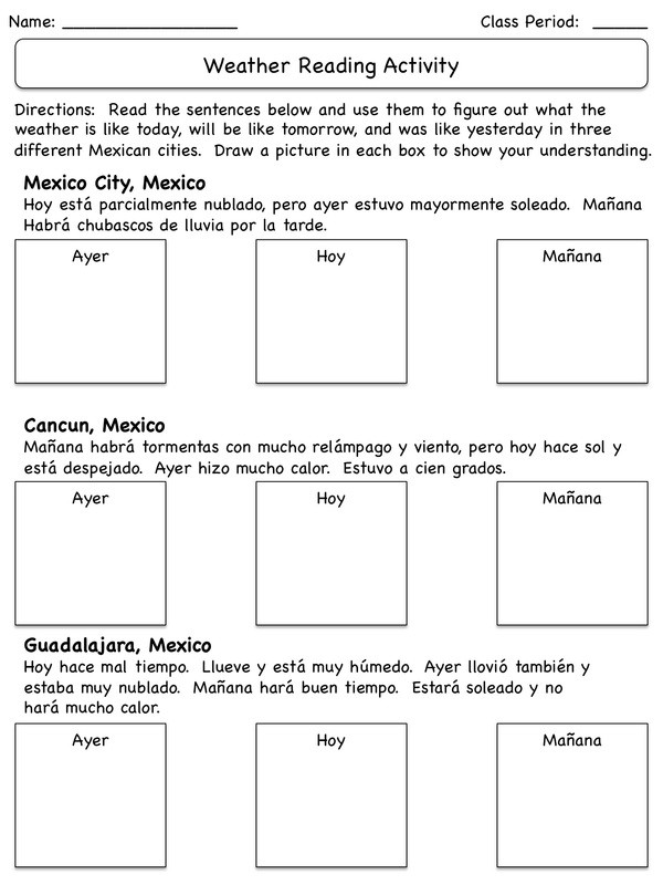 Weather Worksheets for 3rd Grade Integer Spanish Weather Worksheets Check Writing Practice