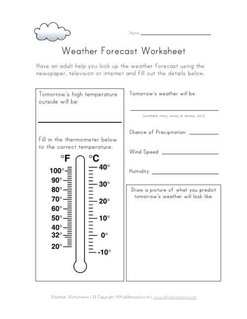 Weather Worksheets for 3rd Grade Weather forecast Worksheet