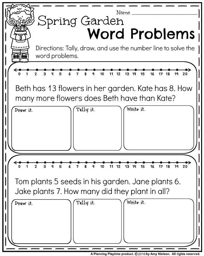 Word Problems Kindergarten Worksheets May First Grade Worksheets for Spring