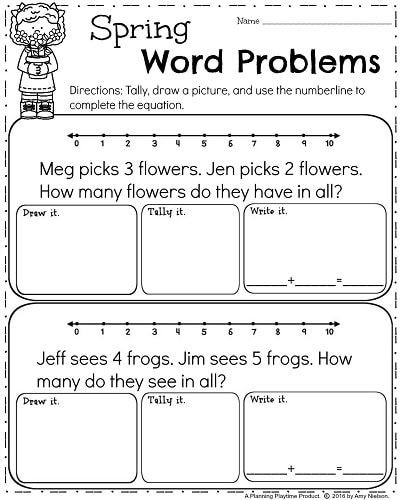 Word Problems Kindergarten Worksheets Spring Kindergarten Worksheets