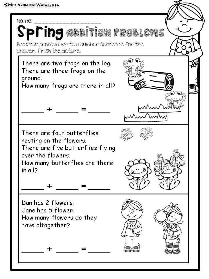 Word Problems Kindergarten Worksheets Spring Math and Literacy No Prep Printables Kindergarten