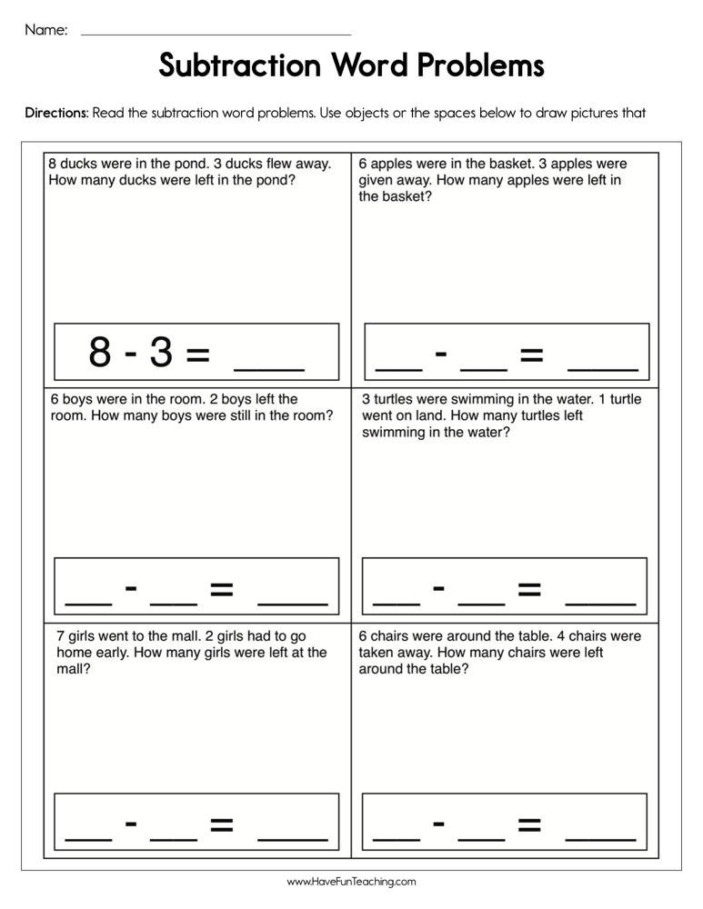 Word Problems Kindergarten Worksheets Subtraction Word Problem Worksheet