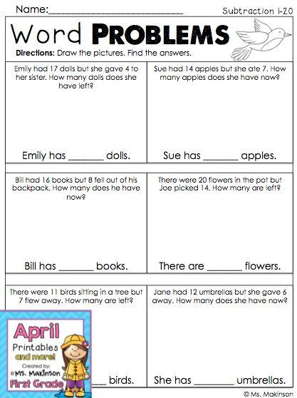 Word Problems Worksheets 1st Grade First Grade Subtraction Word Problems Spring Math