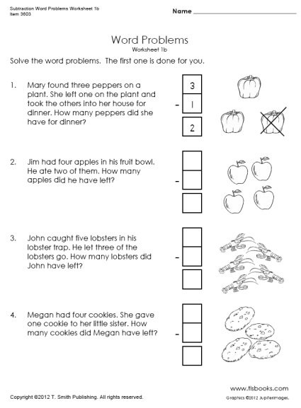 Word Problems Worksheets 1st Grade Subtraction Word Problems Worksheets 1b 1c