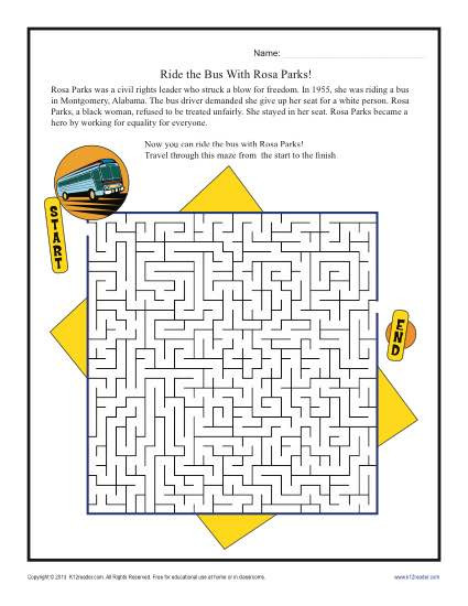 1st Grade History Worksheets Ride the Bus with Rosa Parks Black History Month Worksheets