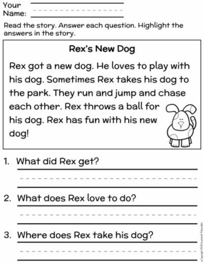 1st Grade Reading Fluency Worksheets Free First Grade Reading Prehension Finding the Main