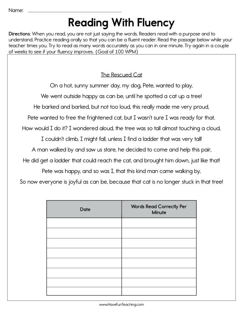 1st Grade Reading Fluency Worksheets Reading with Fluency Worksheet