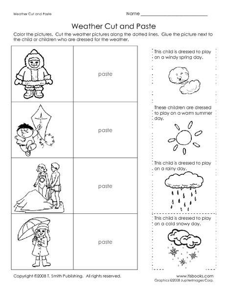 1st Grade Weather Worksheets Weather Cut and Paste Worksheet for Kindergarten 1st Grade