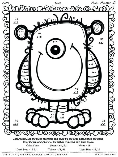 2 Digit Addition Coloring Worksheets Double Digit Addition Color by Number Addition and