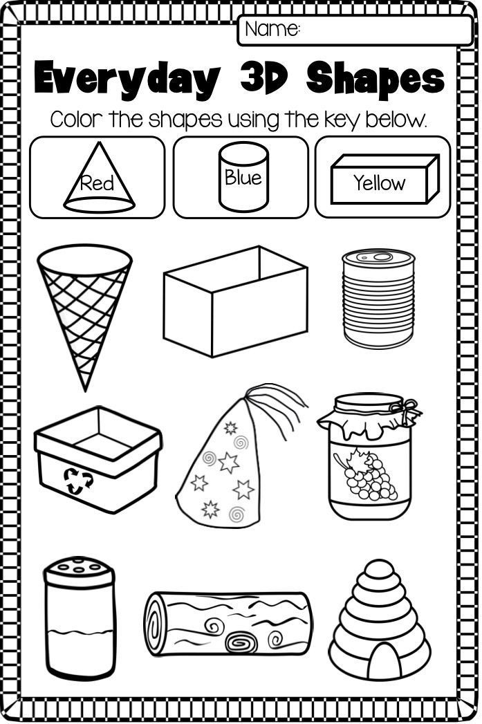 2d Shapes Worksheets Kindergarten 2d and 3d Shapes Worksheet Pack No Prep
