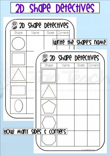 2d Shapes Worksheets Kindergarten 2d Shape Detectives Worksheets