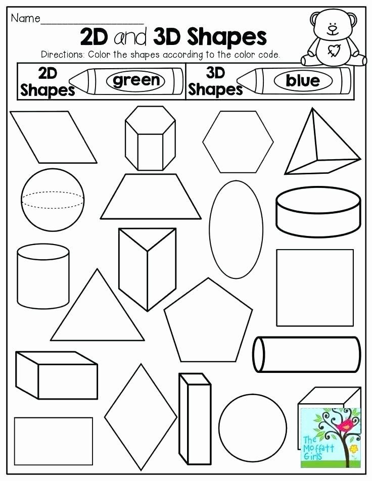 2d Shapes Worksheets Kindergarten 2d Shapes Worksheets Kindergarten Kindergarten 3 Dimensional