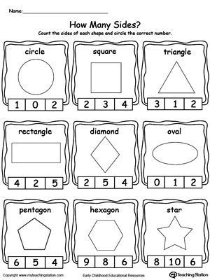 2d Shapes Worksheets Kindergarten Early Childhood Math Worksheets
