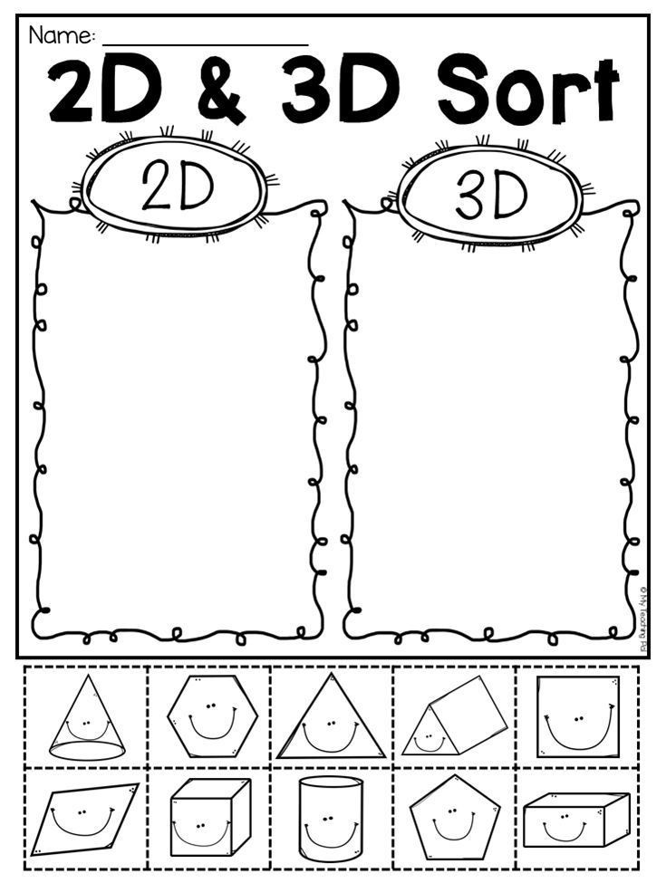 2d Shapes Worksheets Kindergarten First Grade 2d and 3d Shapes Worksheets Distance Learning