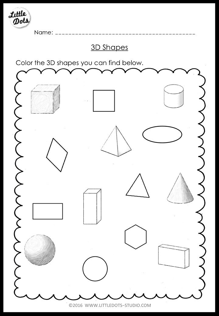 2d Shapes Worksheets Kindergarten Kindergarten Math 3d Shapes Worksheets and Activities