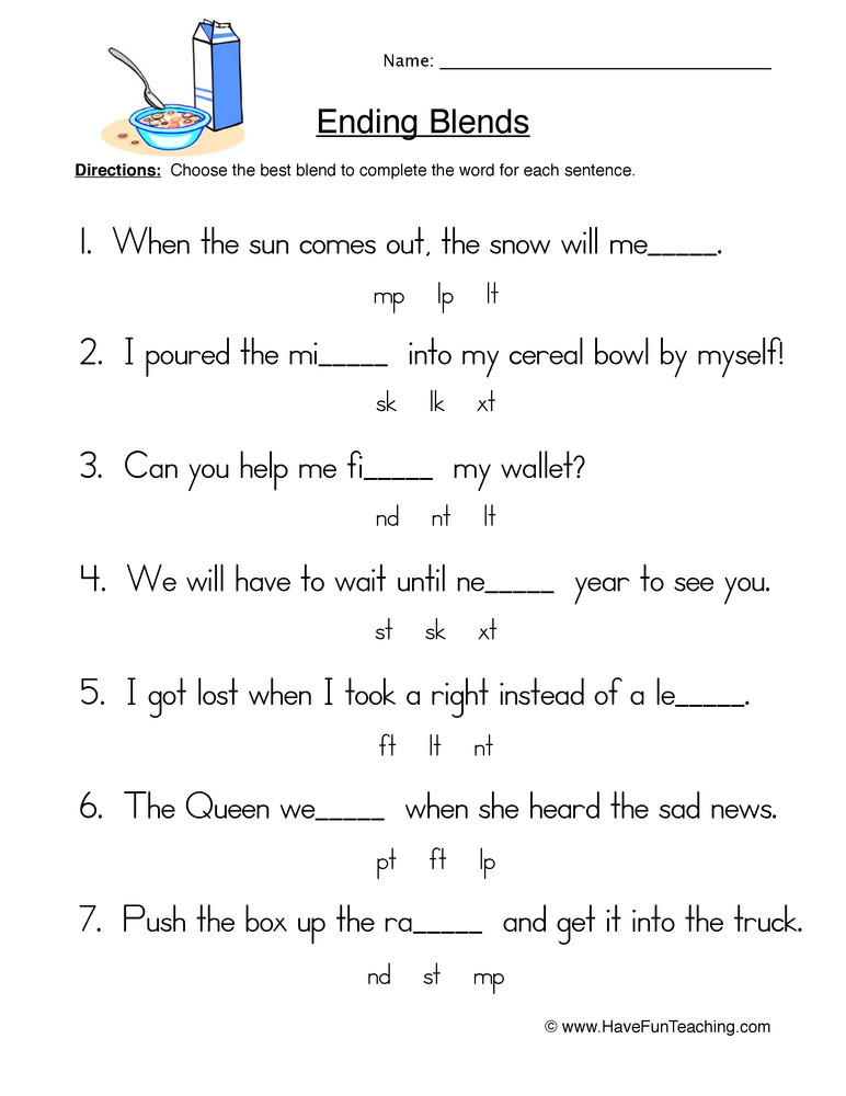 2nd Grade Consonant Blends Worksheets Fill In the Blank Ending Blends Worksheet