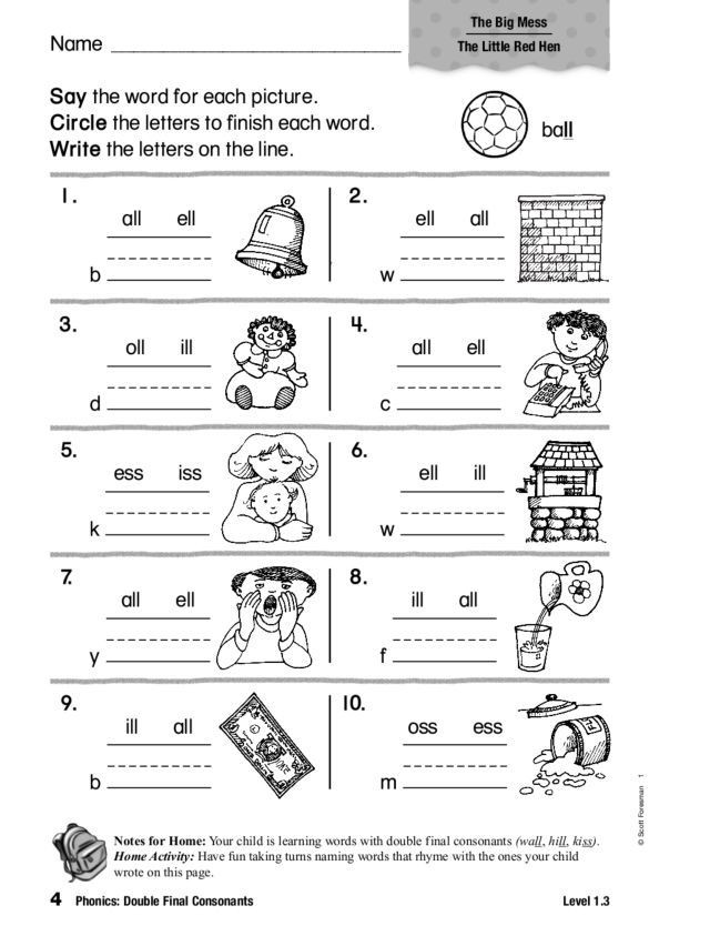 2nd Grade Consonant Blends Worksheets Phonics Double Final Consonants Worksheet for 1st 2nd