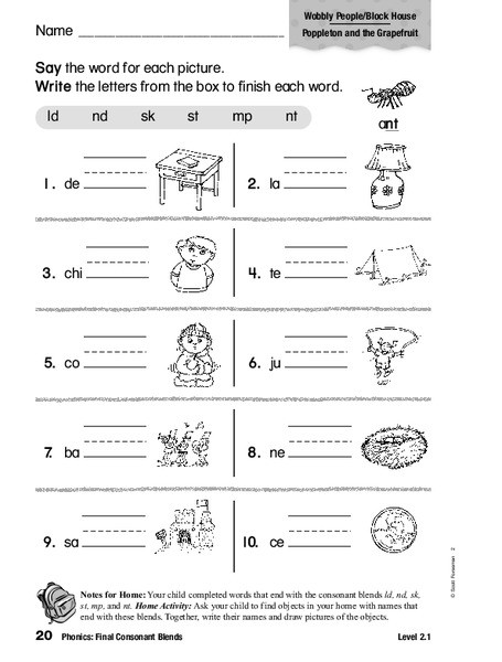 2nd Grade Consonant Blends Worksheets Phonics Final Consonant Blends Worksheet for 1st 2nd