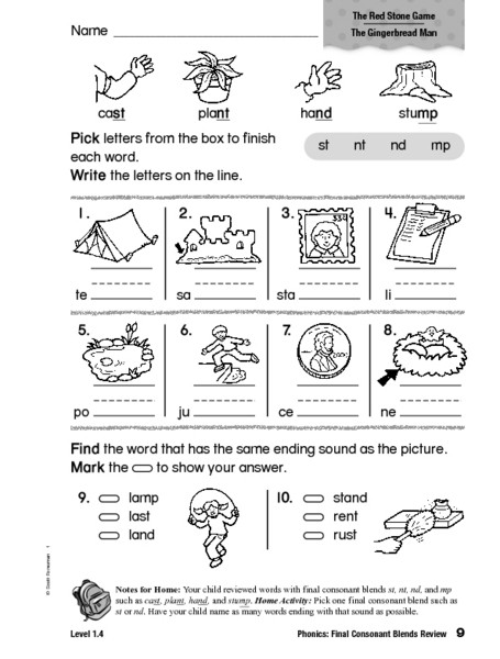 2nd Grade Consonant Blends Worksheets Phonics Final Consonants Blends Review Worksheet for 1st