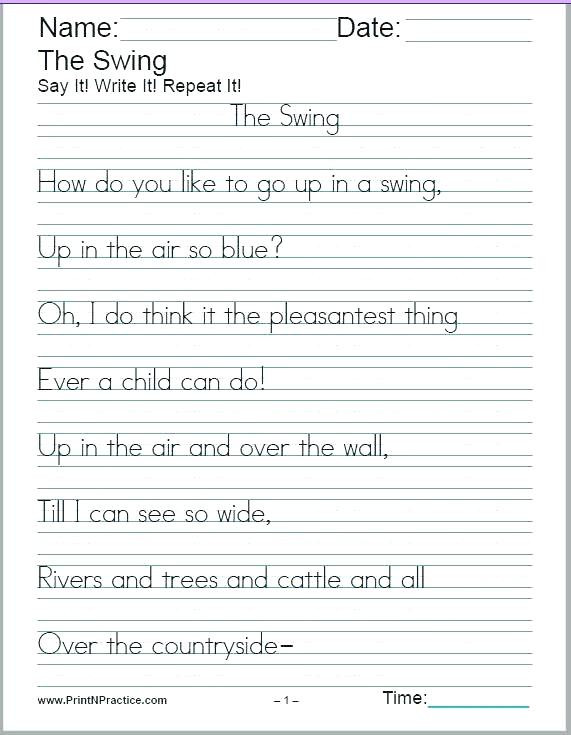 2nd Grade Handwriting Worksheets Pdf Free Printable Handwriting Practice Sheets Handwriting