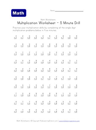 2nd Grade Minute Math Worksheets Multiplication 5 Minute Drill Worksheet